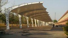山西膜结构车棚--武警部队膜结构停车棚